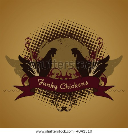 Emblem, parody, funky chickens - stock vector
