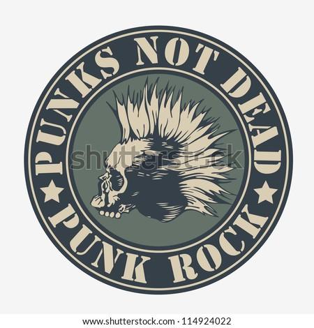 "emblem ""punk not dead"" with punk skull. vector illustration. color version. - stock vector"