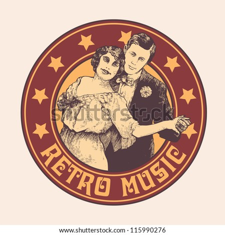 "emblem ""retro music"" with man and woman dance a tango . vector illustration. color version. - stock vector"