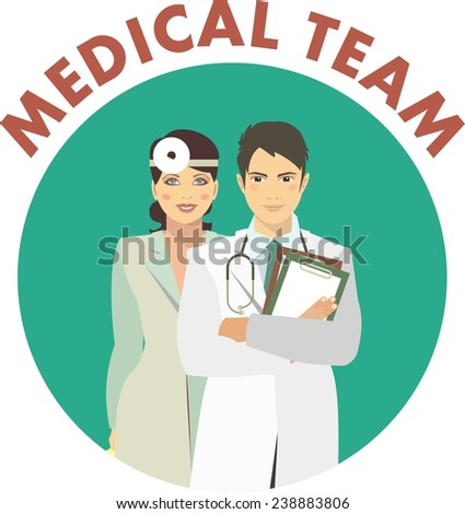 emblem round shape medical men and women workers, doctors and nurses - stock vector