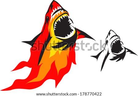 emblem sharks and Fire - stock vector