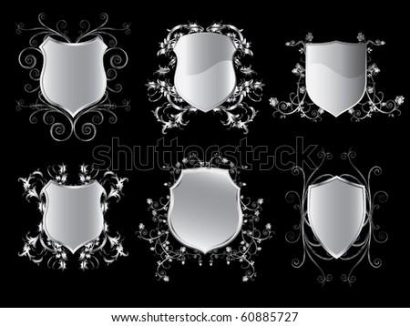 Emblem shields collection vector - stock vector