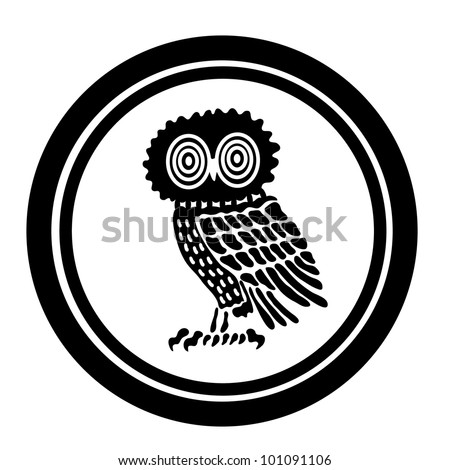 Emblem with an owl - stock vector