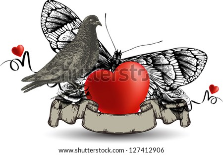 Emblem with bird dove and heart, a butterfly and roses. Vector illustration. - stock vector