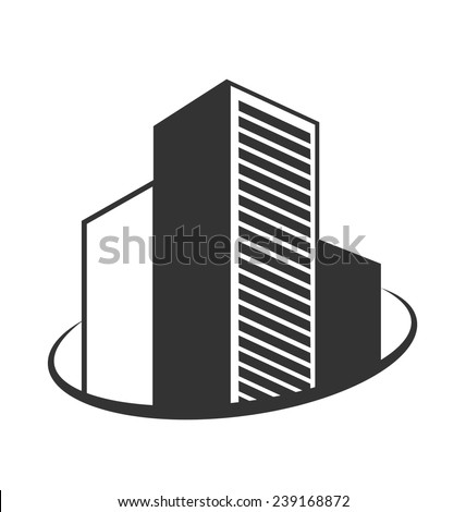 Emblem with buildings isolated on white background - stock vector