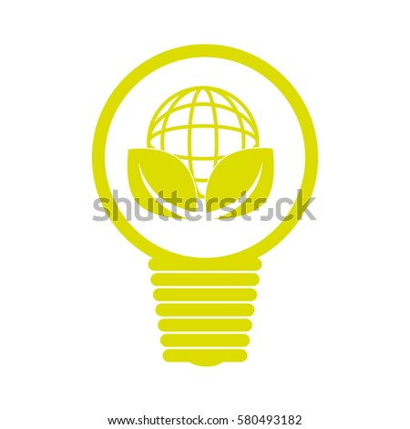 emblem with bulb light with world map and leaves