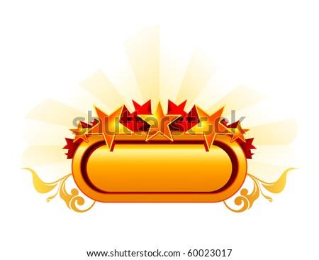 Emblem with the stars, orange - stock vector