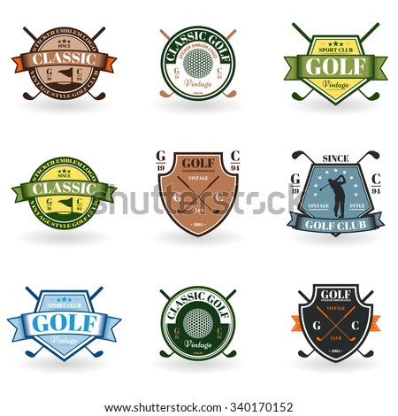 Emblems golf in black on a white background for your design and illustration - stock vector