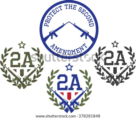 Emblems Support Second Amendment Us Constitution Digital Stock Photo