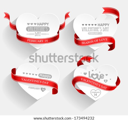 Emblems with hearts and red ribbons with shadow. Vector - stock vector