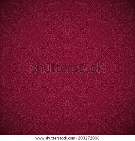 Embossed fabric seamless oriental pattern wine color - stock vector