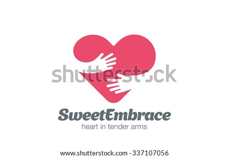 Embrace Heart Shape Logo design vector template. Valentine Day Love Concept: Embracing Logotype negative space icon. - stock vector