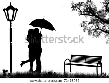 Embraced lovers in a park, on black and white, vector illustration - stock vector