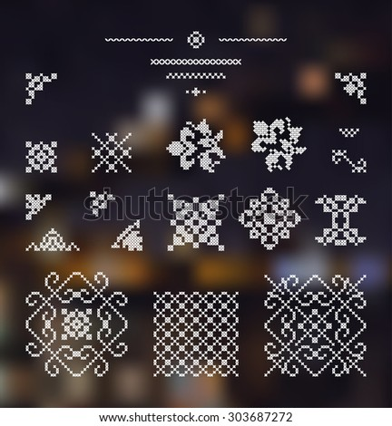 Embroidered design elements. White drawing on dark background. - stock vector