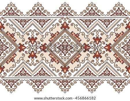 Embroidered old handmade cross-stitch ethnic Ukrainian pattern. Towel with ornament, called rushnyk in vector - stock vector