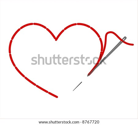 embroidered red heart - stock vector