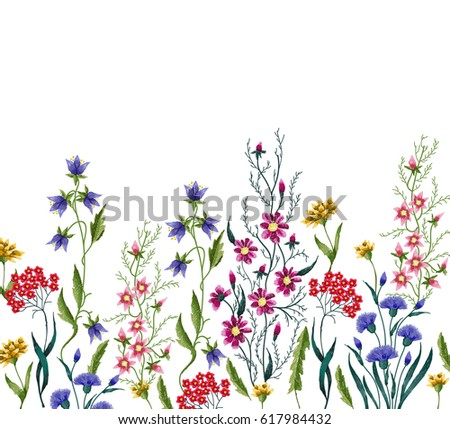 Embroidery Flowers Embroidered Design Elements Flowers Stock Vector