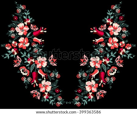 embroidery flowers neck line graphic designs - stock vector