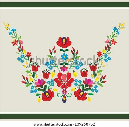 Embroidery folk pattern - stock vector