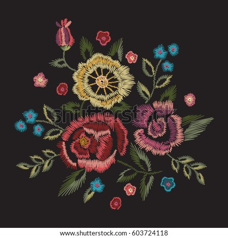 Embroidery Native Floral Round Pattern Simplified Stock Vector 2018