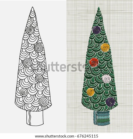 Embroidery Pattern Christmas Tree Zentangle Style Stock Vector Hd