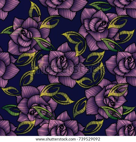 Embroidery Roses Seamless Pattern Black Floral Stock Vector