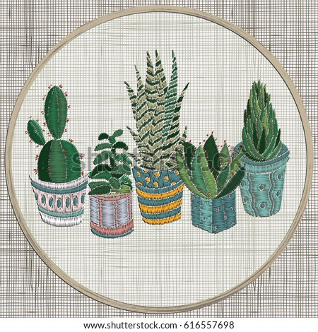 Embroidery Succulents Cactus Pots Cactus Wall Stock Vector Royalty