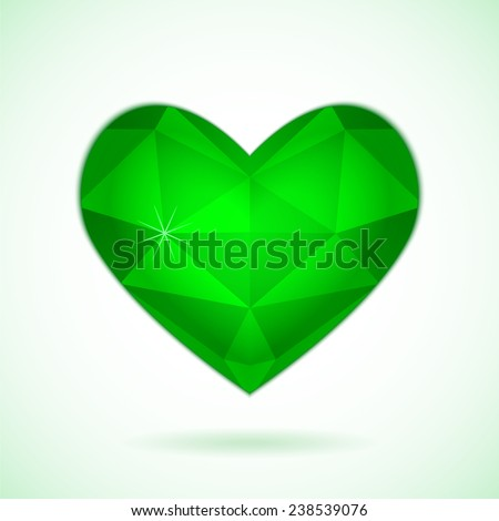 Emerald diamond abstract heart isolated on a white background. Vector illustration for valentine or wedding - stock vector