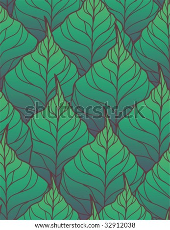 Emerald leaves - seamless vector pattern - stock vector