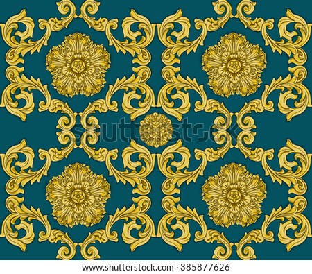Emerald seamless pattern with flower and Ornaments in Baroque Style. Baroque Wallpaper. Baroque Design. Baroque Background.  - stock vector