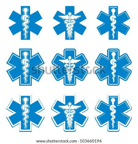 Emergency ambulance medicine symbols set, vectors collection. - stock vector