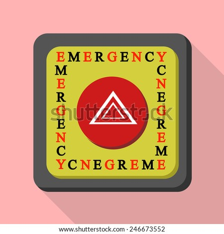 emergency button flat style Icon and illustration - stock vector