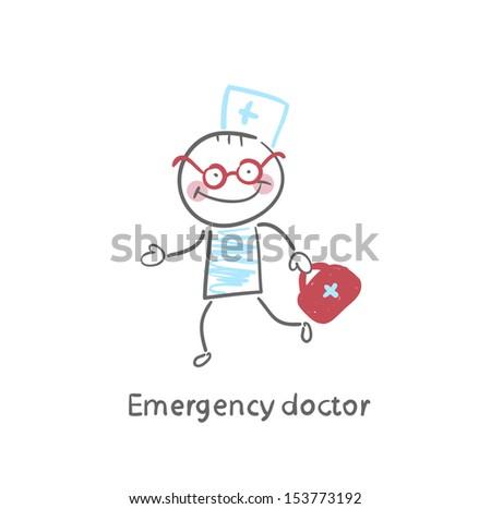 Emergency doctor runs - stock vector