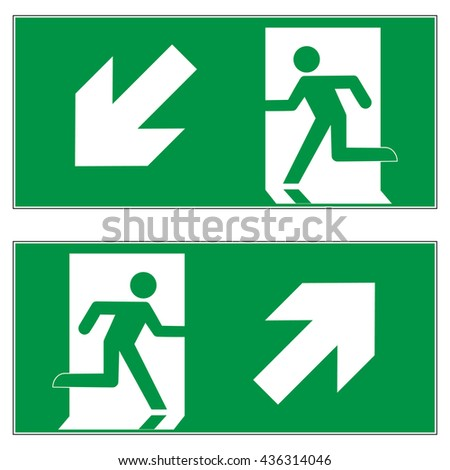 Emergency exit downward left , Emergency exit upward right , escape route signs , vector illustration - stock vector