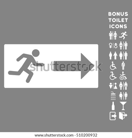 Emergency Exit icon and bonus gentleman and woman toilet symbols  Vector  illustration style is flat. Stock Photos  Royalty Free Images   Vectors   Shutterstock