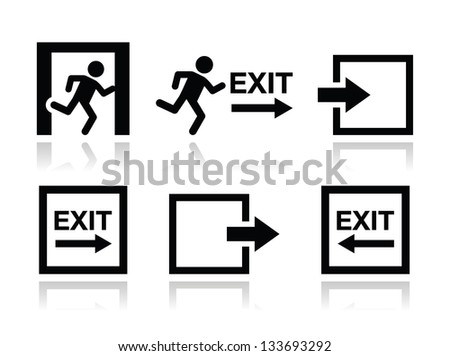 Emergency exit icons vector set - stock vector