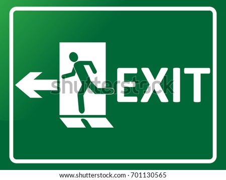 emergency exit sign man silhouette running stock vector royalty