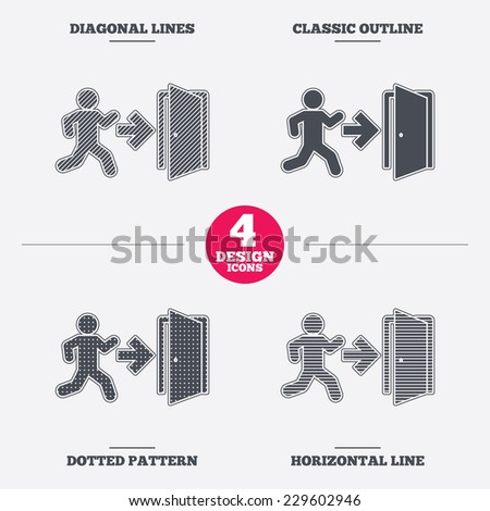 Emergency exit with human figure sign icon. Door with right arrow symbol. Fire exit. Diagonal and horizontal lines, classic outline, dotted texture. Pattern design icons.  Vector - stock vector
