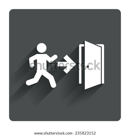 Emergency exit with human figure sign icon. Door with right arrow symbol. Fire exit. Gray flat square button with shadow. Modern UI website navigation. Vector - stock vector