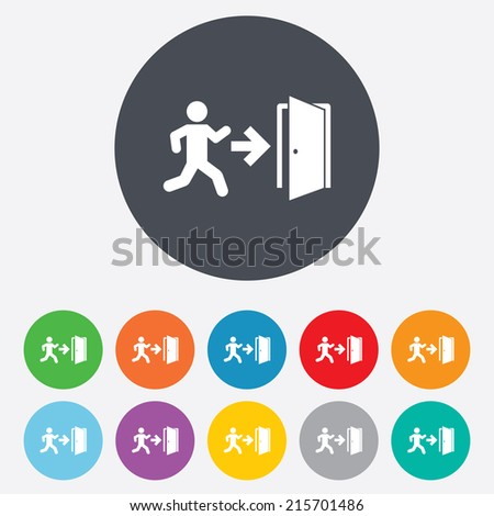 Emergency exit with human figure sign icon. Door with right arrow symbol. Fire exit. Round colourful 11 buttons. Vector - stock vector