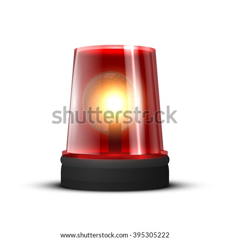 Emergency Light red, spinning beacon. Glowing siren for cars. Fire protection signs. Isolated on white background.