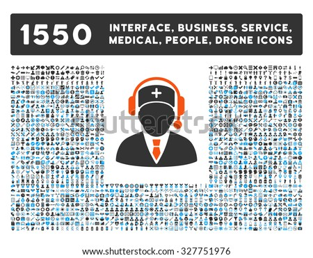Emergency Manager and other web interface, business tools, people poses, medical service vector icons. Style is flat symbols, bicolored, rounded angles, white background.