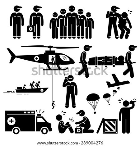 Emergency Rescue Team Stick Figure Pictogram Icons - stock vector