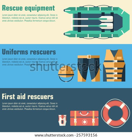 emergency service paramedic lifeguard equipment tools on banners. On flat style background concept. Vector illustration for colorful template for you design, web and mobile applications - stock vector