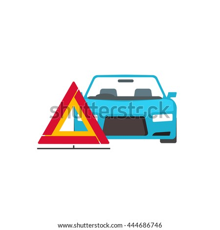 Emergency sign near broken car vector illustration isolated on white background - stock vector