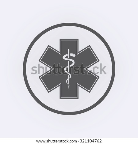 Emergency star - medical symbol caduceus snake with stick in circle . Life star . Vector illustration - stock vector