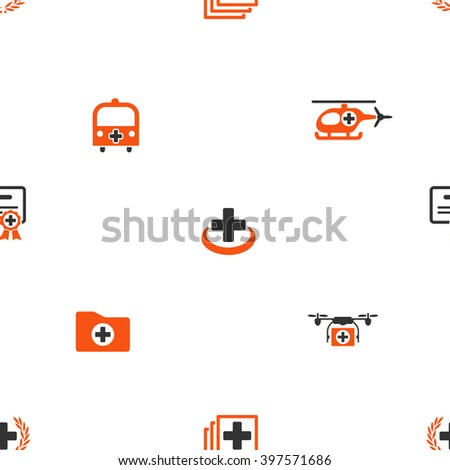Emergency vector repeatable pattern. Style is flat orange and gray icon symbols on a white background.