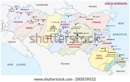 Emiliaromagna Administrative Map Stock Vector 280839032 Shutterstock