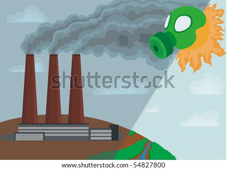 Emissions of harmful chemicals into the air. Contamination of the atmosphere - stock vector