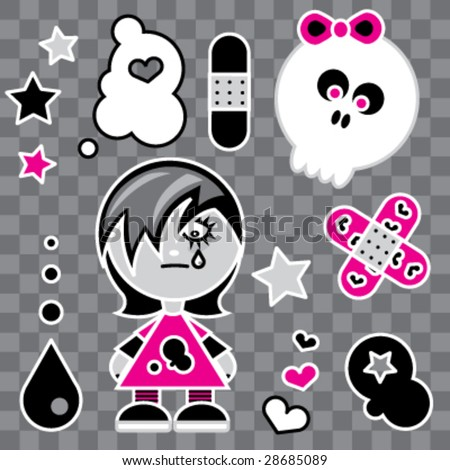 Emo Girl - stock vector